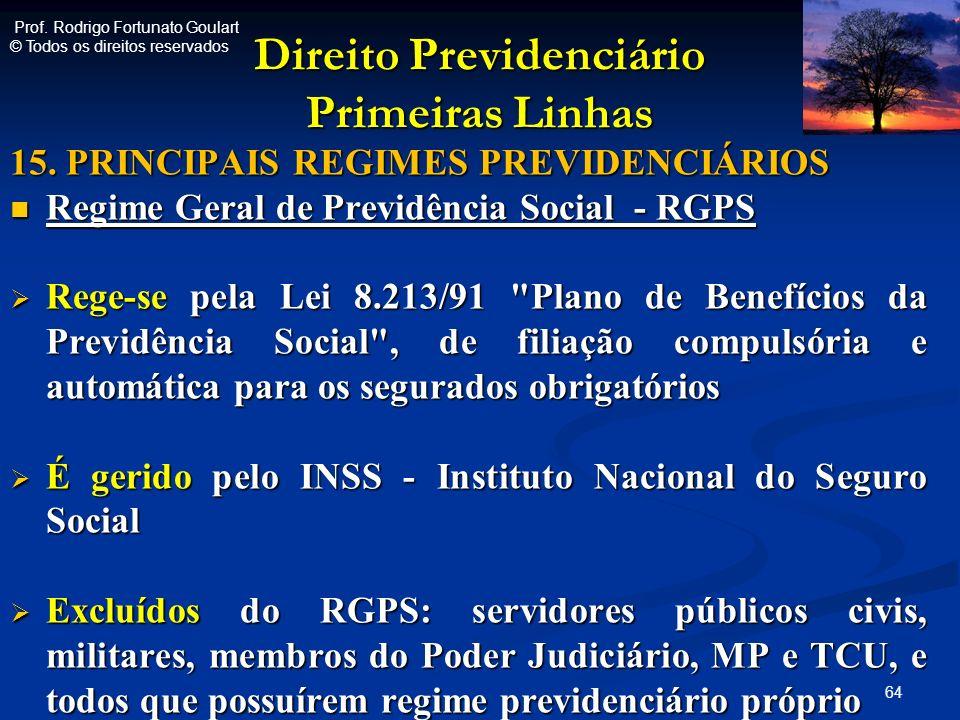 Direito Previdenciário Primeiras Linhas 15. PRINCIPAIS REGIMES PREVIDENCIÁRIOS Regime Geral de Previdência Social - RGPS Regime Geral de Previdência S