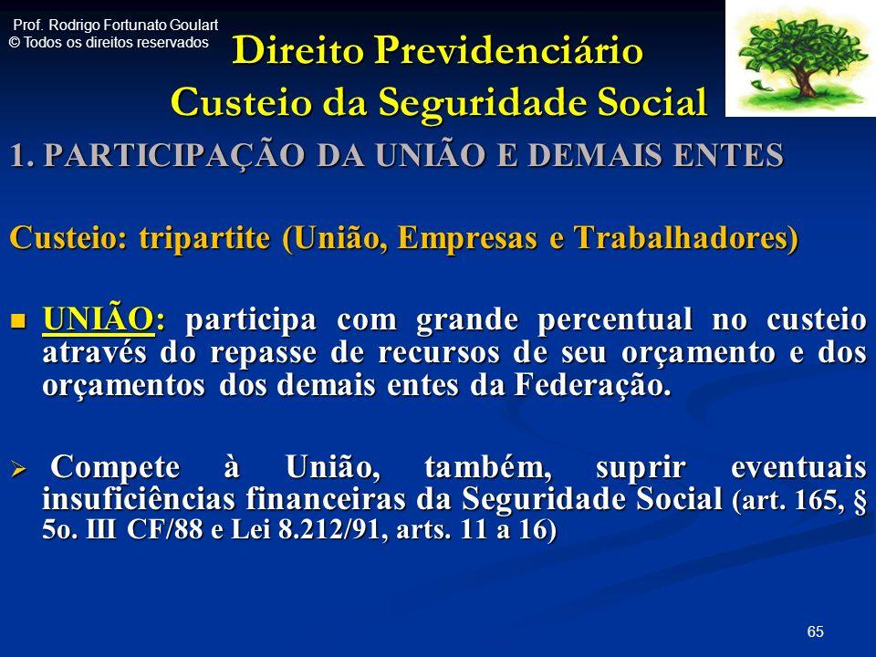 Direito Previdenciário Custeio da Seguridade Social 1. PARTICIPAÇÃO DA UNIÃO E DEMAIS ENTES Custeio: tripartite (União, Empresas e Trabalhadores) UNIÃ