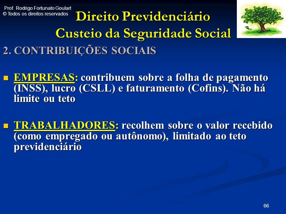 Direito Previdenciário Custeio da Seguridade Social 2. CONTRIBUIÇÕES SOCIAIS EMPRESAS: contribuem sobre a folha de pagamento (INSS), lucro (CSLL) e fa