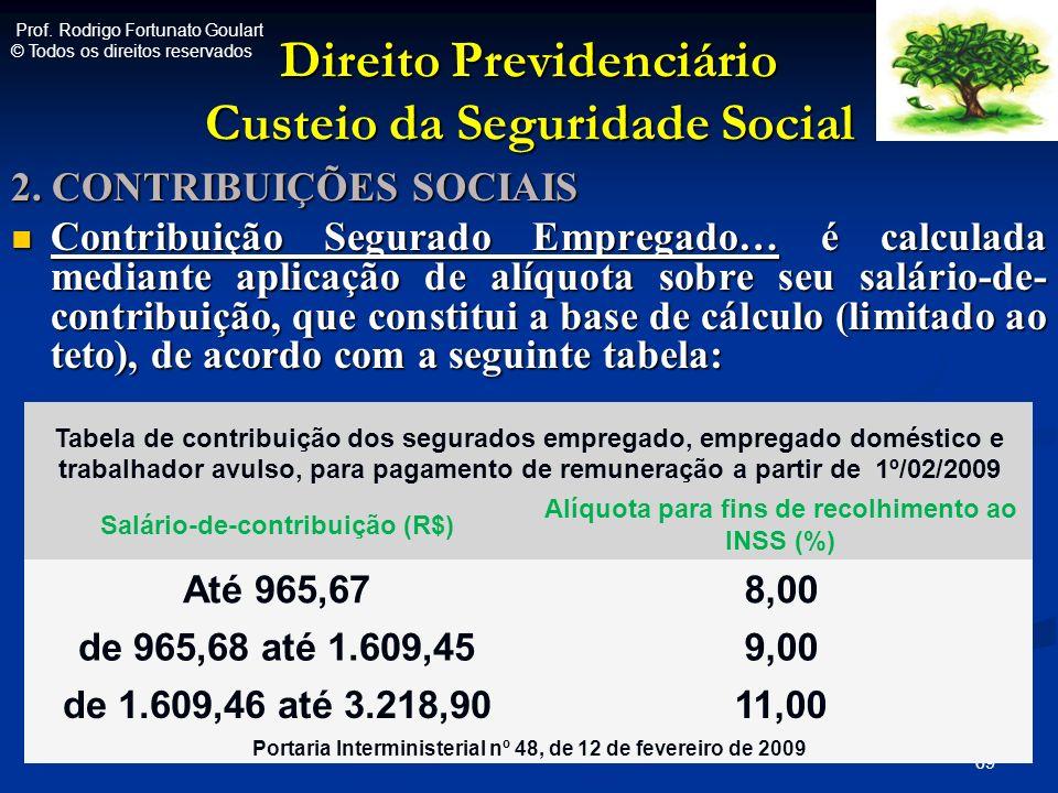 Direito Previdenciário Custeio da Seguridade Social 2. CONTRIBUIÇÕES SOCIAIS Contribuição Segurado Empregado… é calculada mediante aplicação de alíquo