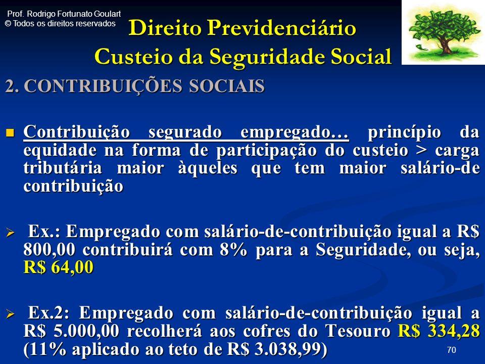 Direito Previdenciário Custeio da Seguridade Social 2. CONTRIBUIÇÕES SOCIAIS Contribuição segurado empregado… princípio da equidade na forma de partic