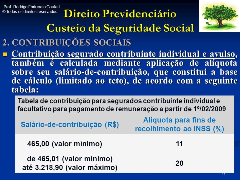 Direito Previdenciário Custeio da Seguridade Social 2. CONTRIBUIÇÕES SOCIAIS Contribuição segurado contribuinte individual e avulso, também é calculad