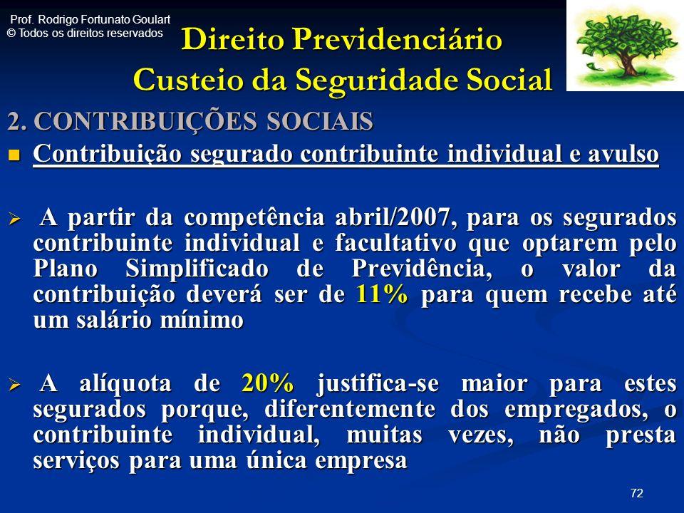 Direito Previdenciário Custeio da Seguridade Social 2. CONTRIBUIÇÕES SOCIAIS Contribuição segurado contribuinte individual e avulso Contribuição segur