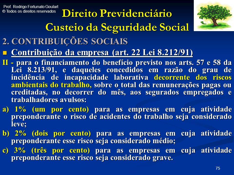 Direito Previdenciário Custeio da Seguridade Social 2. CONTRIBUIÇÕES SOCIAIS Contribuição da empresa (art. 22 Lei 8.212/91) Contribuição da empresa (a
