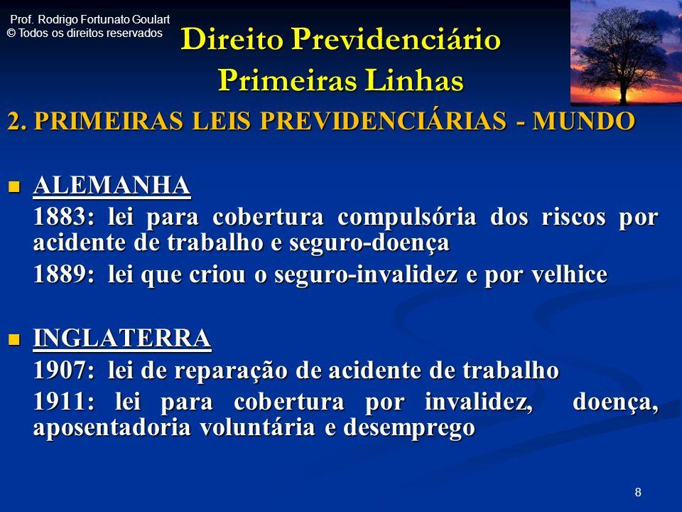 Direito Previdenciário Primeiras Linhas 2. PRIMEIRAS LEIS PREVIDENCIÁRIAS - MUNDO ALEMANHA ALEMANHA 1883: lei para cobertura compulsória dos riscos po