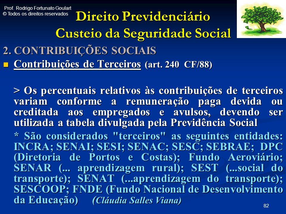 Direito Previdenciário Custeio da Seguridade Social 2. CONTRIBUIÇÕES SOCIAIS Contribuições de Terceiros (art. 240 CF/88) Contribuições de Terceiros (a