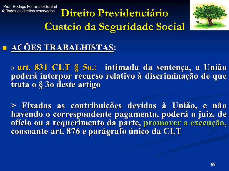 Direito Previdenciário Custeio da Seguridade Social AÇÕES TRABALHISTAS: AÇÕES TRABALHISTAS: > art. 831 CLT § 5o.: intimada da sentença, a União poderá