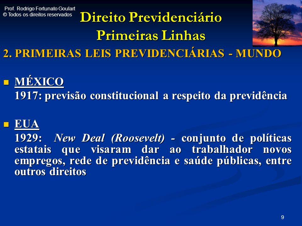 Direito Previdenciário Primeiras Linhas 2. PRIMEIRAS LEIS PREVIDENCIÁRIAS - MUNDO MÉXICO MÉXICO 1917: previsão constitucional a respeito da previdênci