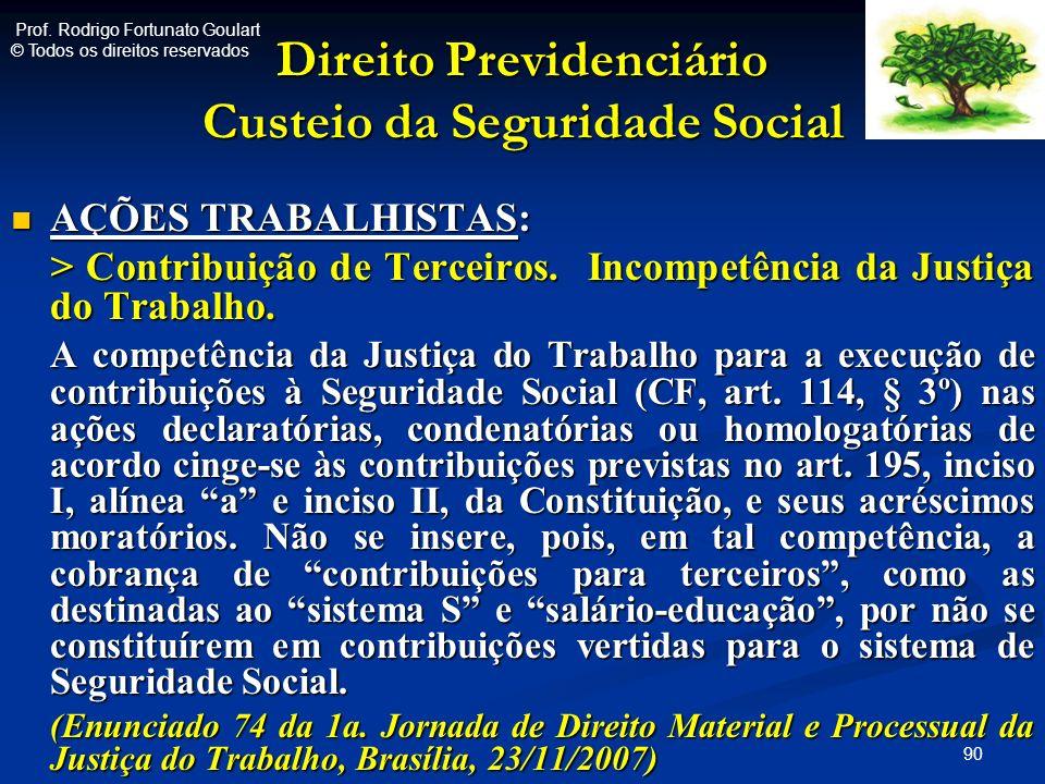 Direito Previdenciário Custeio da Seguridade Social AÇÕES TRABALHISTAS: AÇÕES TRABALHISTAS: > Contribuição de Terceiros. Incompetência da Justiça do T
