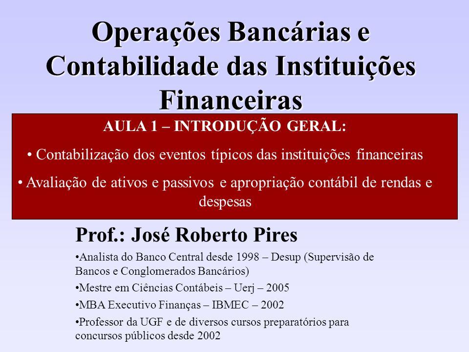 Operações Bancárias e Contabilidade das Instituições Financeiras Prof.: José Roberto Pires Analista do Banco Central desde 1998 – Desup (Supervisão de