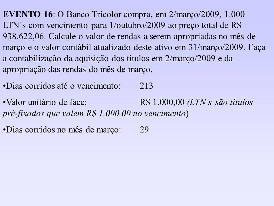EVENTO 16: O Banco Tricolor compra, em 2/março/2009, 1.000 LTN´s com vencimento para 1/outubro/2009 ao preço total de R$ 938.622,06. Calcule o valor d
