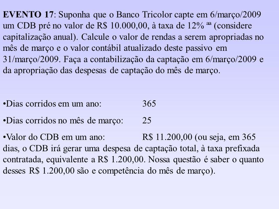EVENTO 17: Suponha que o Banco Tricolor capte em 6/março/2009 um CDB pré no valor de R$ 10.000,00, à taxa de 12% ªª (considere capitalização anual). C