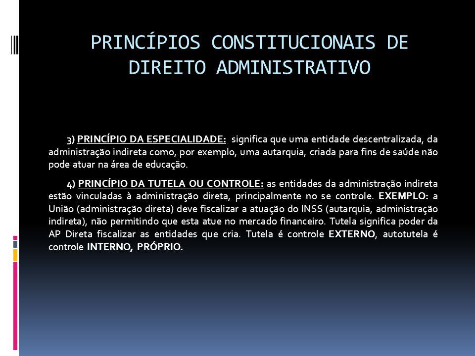PRINCÍPIOS CONSTITUCIONAIS DE DIREITO ADMINISTRATIVO 3) PRINCÍPIO DA ESPECIALIDADE: significa que uma entidade descentralizada, da administração indir