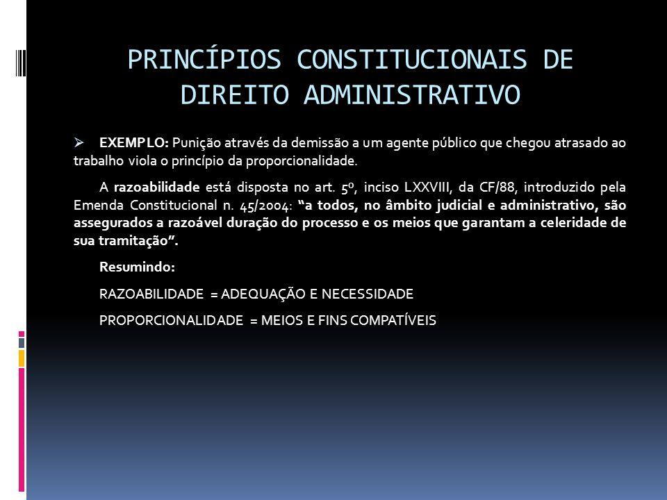 PRINCÍPIOS CONSTITUCIONAIS DE DIREITO ADMINISTRATIVO EXEMPLO: Punição através da demissão a um agente público que chegou atrasado ao trabalho viola o
