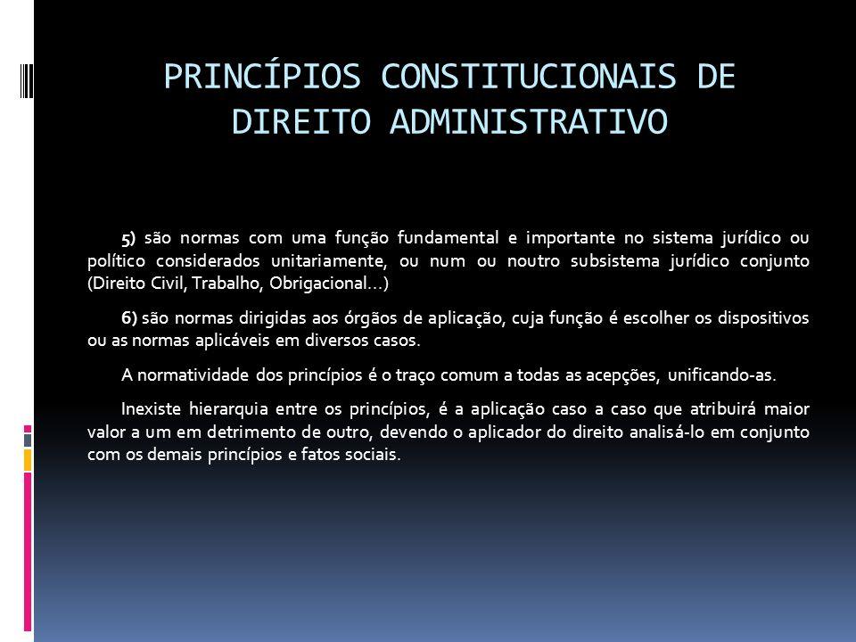 PRINCÍPIOS CONSTITUCIONAIS DE DIREITO ADMINISTRATIVO 5) são normas com uma função fundamental e importante no sistema jurídico ou político considerado