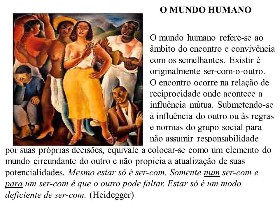 O MUNDO HUMANO O mundo humano refere-se ao âmbito do encontro e convivência com os semelhantes. Existir é originalmente ser-com-o-outro. O encontro oc