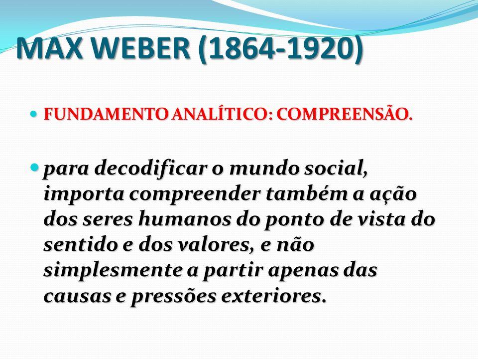 WEBER - (1864-1920) Diferentemente das perspectivas holísticas, e de explicações fundadas a partir da filosofia Hegeliana, e também a centralidade das questões econômicas, Weber vai partir do pressuposto de que a sociedade se constitui por meio de processos interativos entre indivíduos, grupos, associações e instituições.