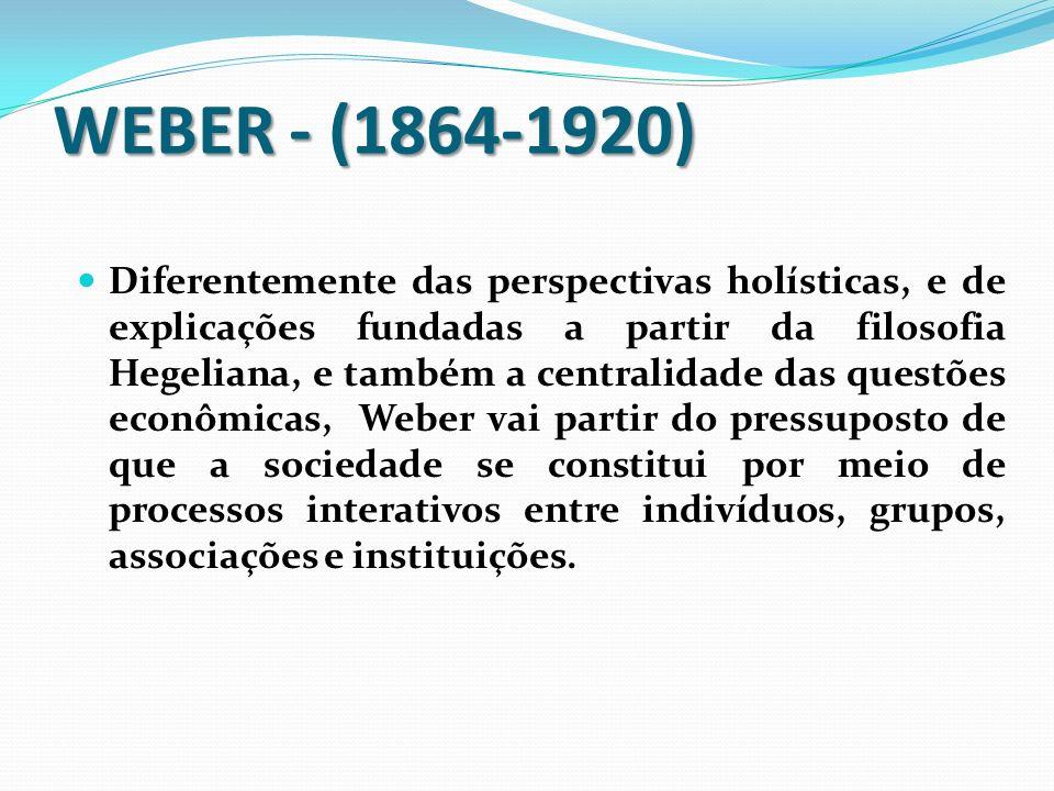 Características do pensamento Weberiano que diferem do pensamento de Marx e Durkheim Características do pensamento Weberiano que diferem do pensamento de Marx e Durkheim Preocupação com o estudo da diferença; Para Weber a pesquisa histórica é essencial para a compreensão das sociedades; essa pesquisa permite o entendimento das diferenças sociais, que seriam para Weber, de gênese e formação, e não de estágios de evolução; Para Weber, o caráter particular e específico de cada formação social e histórica contemporânea deve ser respeitado;