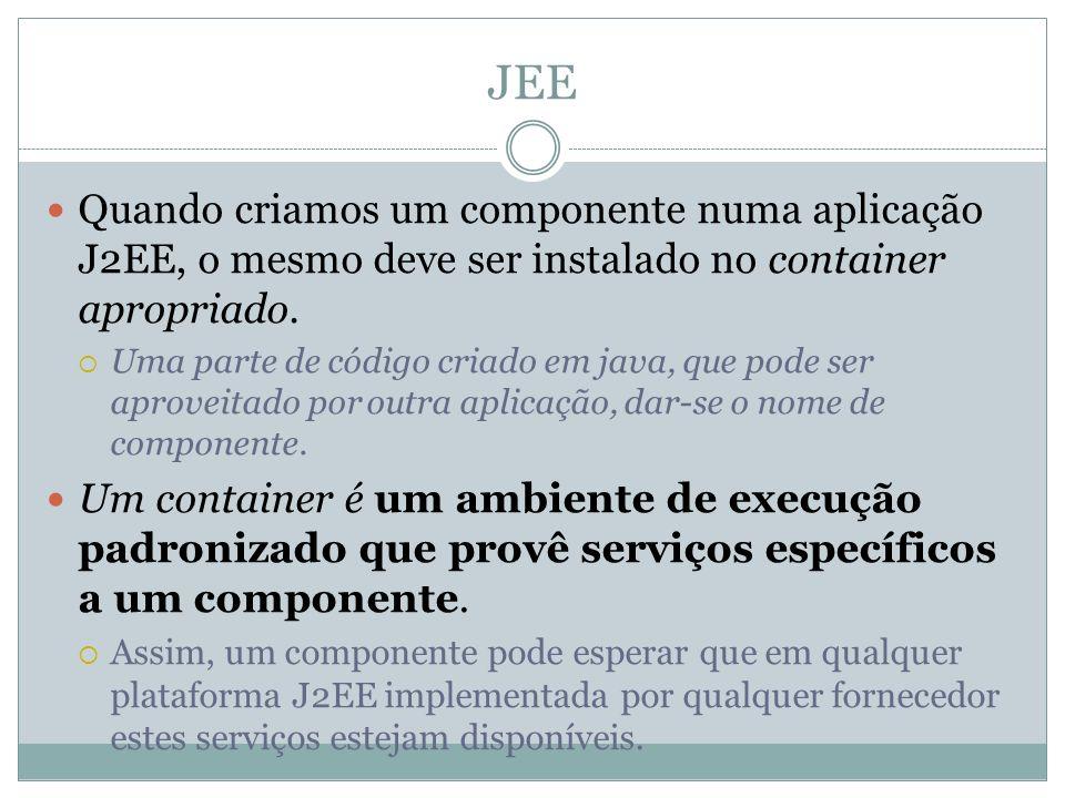 JEE Quando criamos um componente numa aplicação J2EE, o mesmo deve ser instalado no container apropriado. Uma parte de código criado em java, que pode
