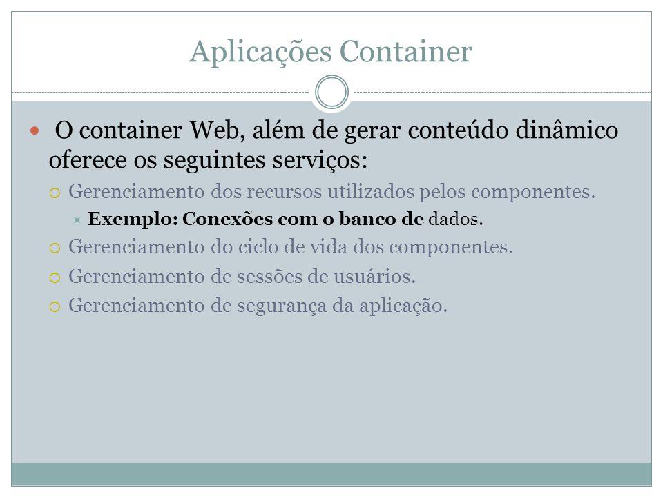 Aplicações Container O container Web, além de gerar conteúdo dinâmico oferece os seguintes serviços: Gerenciamento dos recursos utilizados pelos compo