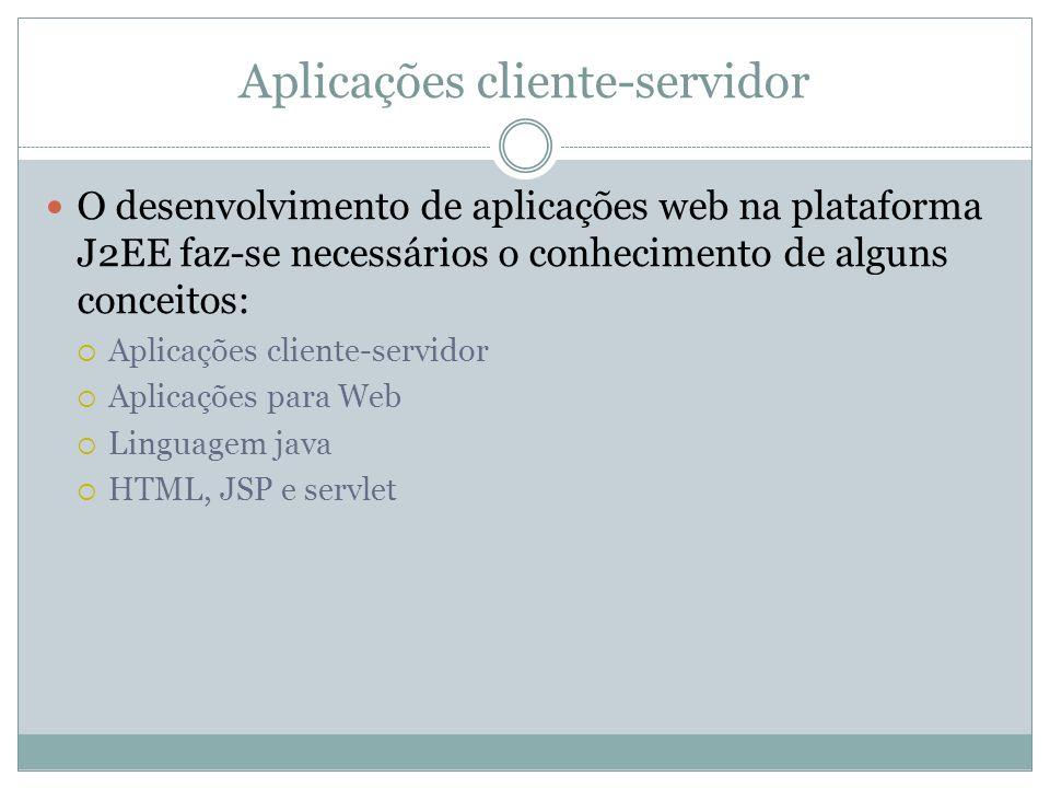 Aplicações cliente-servidor O desenvolvimento de aplicações web na plataforma J2EE faz-se necessários o conhecimento de alguns conceitos: Aplicações cliente-servidor Aplicações para Web Linguagem java HTML, JSP e servlet