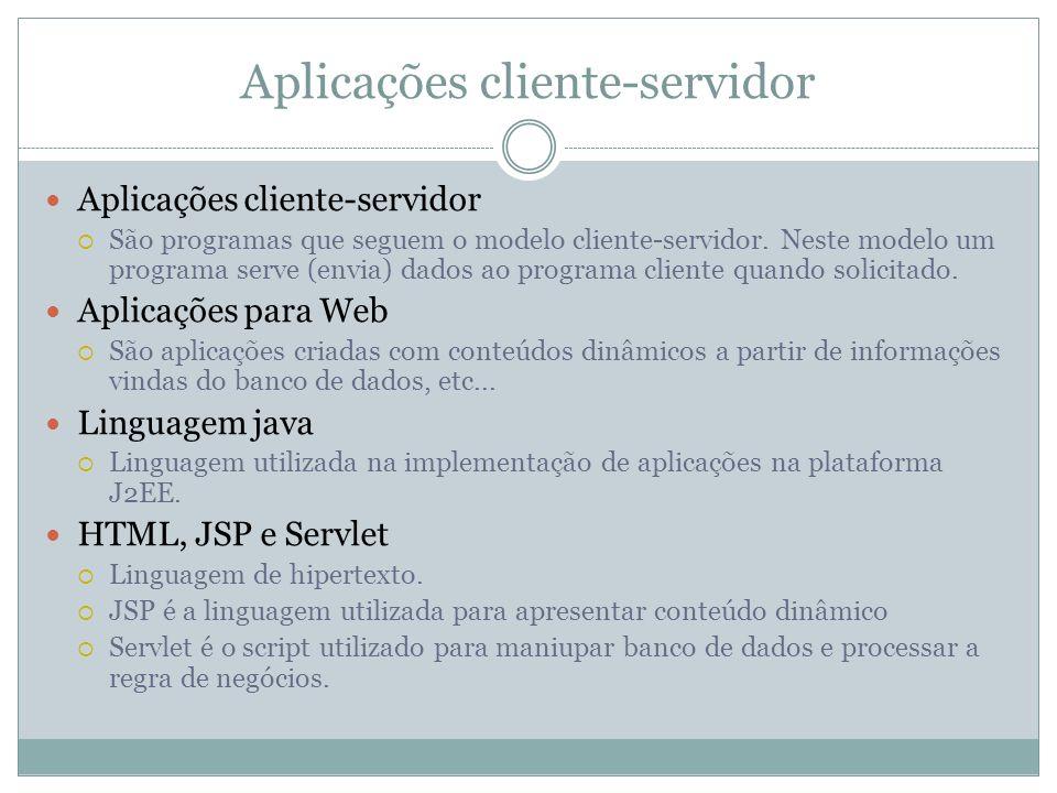 Aplicações cliente-servidor São programas que seguem o modelo cliente-servidor. Neste modelo um programa serve (envia) dados ao programa cliente quand