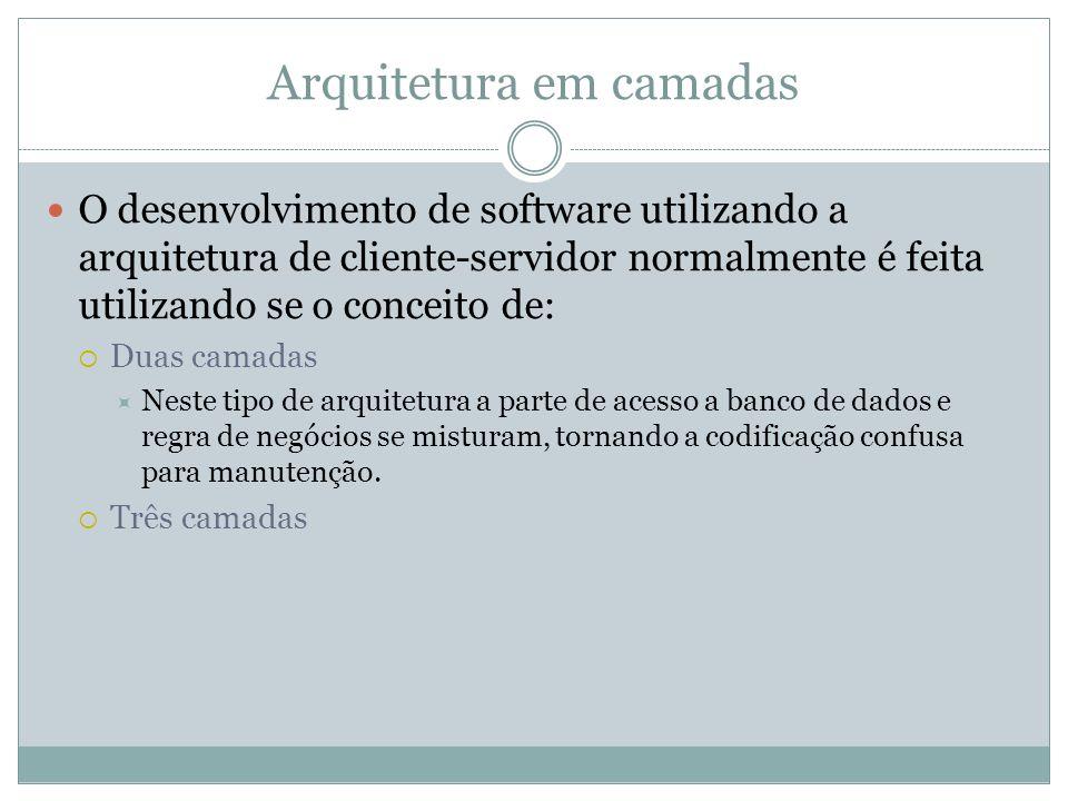 Arquitetura em camadas O desenvolvimento de software utilizando a arquitetura de cliente-servidor normalmente é feita utilizando se o conceito de: Dua