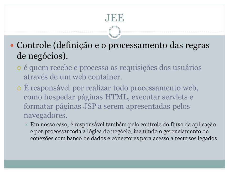 JEE Controle (definição e o processamento das regras de negócios). é quem recebe e processa as requisições dos usuários através de um web container. É