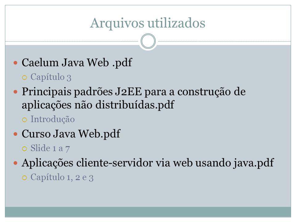 Arquivos utilizados Caelum Java Web.pdf Capítulo 3 Principais padrões J2EE para a construção de aplicações não distribuídas.pdf Introdução Curso Java Web.pdf Slide 1 a 7 Aplicações cliente-servidor via web usando java.pdf Capítulo 1, 2 e 3