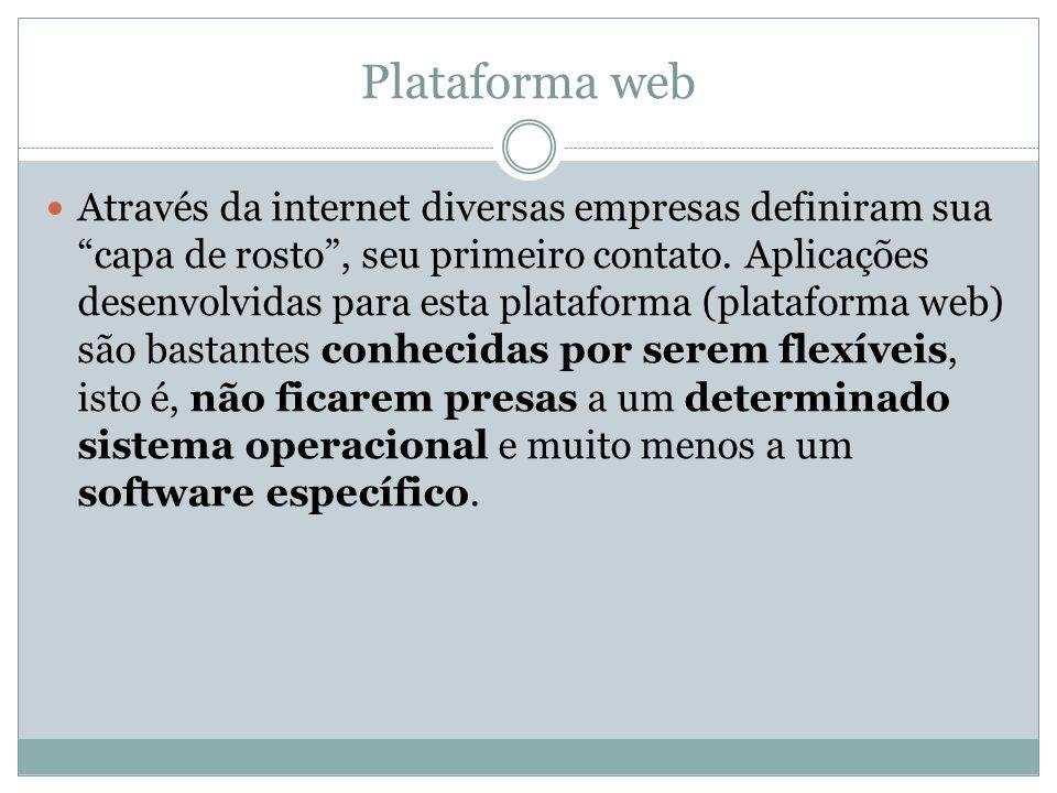 Plataforma web O desenvolvimento de aplicações para Web é um pouco diferente do desenvolvimento de aplicações locais (Desktops), desde a parte de visualização, quanto segurança.