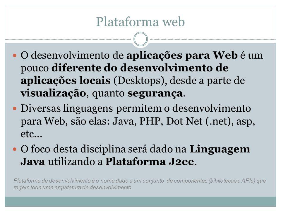Plataforma web O desenvolvimento de aplicações para Web é um pouco diferente do desenvolvimento de aplicações locais (Desktops), desde a parte de visu