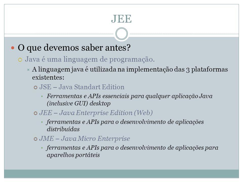 JEE O que devemos saber antes? Java é uma linguagem de programação. A linguagem java é utilizada na implementação das 3 plataformas existentes: JSE –