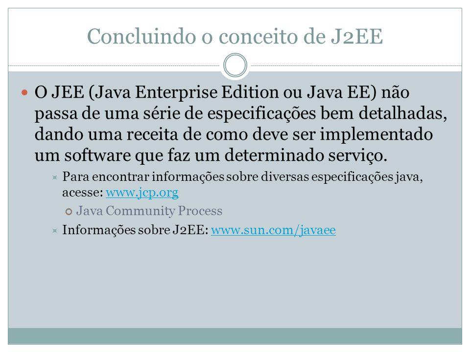 Concluindo o conceito de J2EE O JEE (Java Enterprise Edition ou Java EE) não passa de uma série de especificações bem detalhadas, dando uma receita de