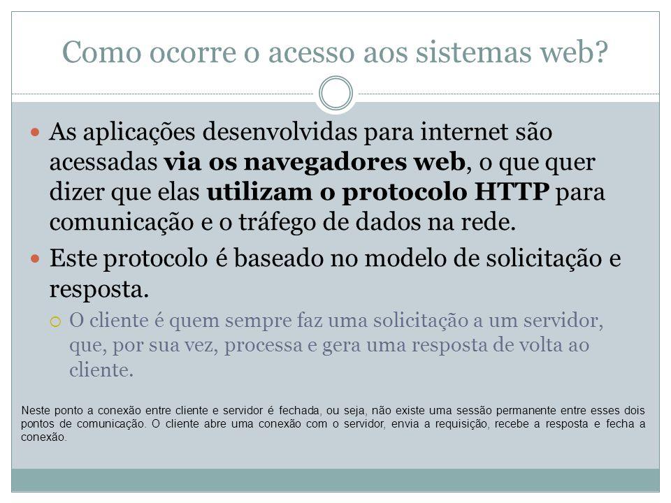 Como ocorre o acesso aos sistemas web? As aplicações desenvolvidas para internet são acessadas via os navegadores web, o que quer dizer que elas utili