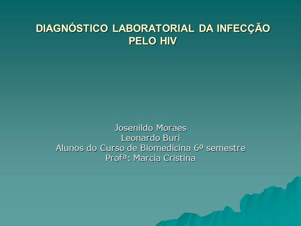 DIAGNÓSTICO LABORATORIAL DA INFECÇÃO PELO HIV Josenildo Moraes Leonardo Buri Alunos do Curso de Biomedicina 6º semestre Profª: Marcia Cristina