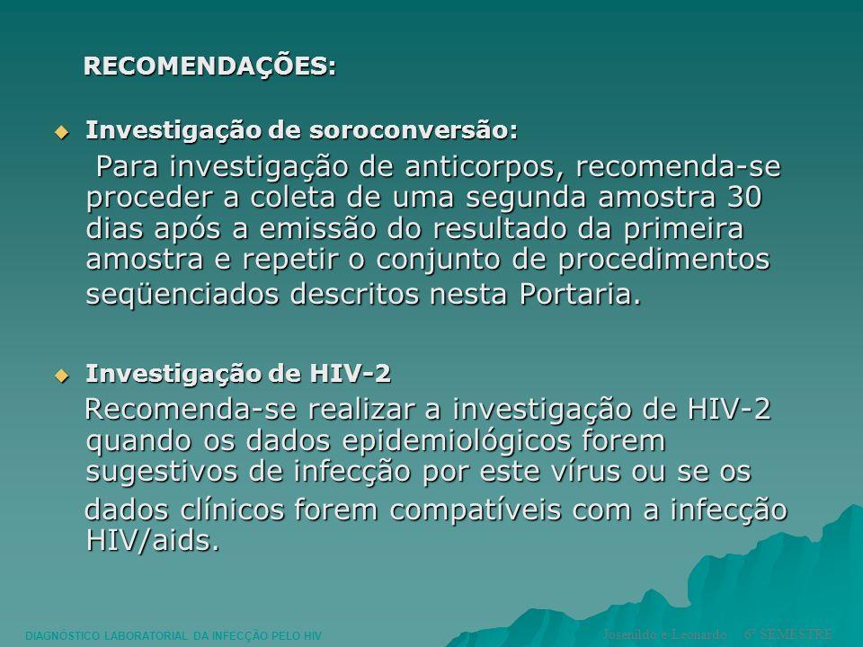 RECOMENDAÇÕES: RECOMENDAÇÕES: Investigação de soroconversão: Investigação de soroconversão: Para investigação de anticorpos, recomenda-se proceder a c