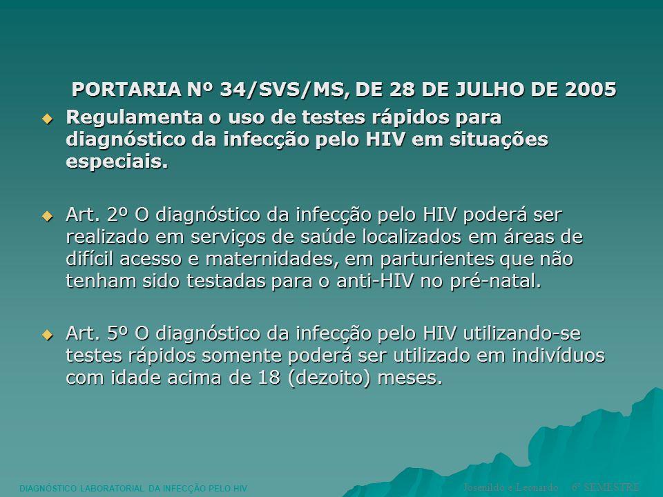PORTARIA Nº 34/SVS/MS, DE 28 DE JULHO DE 2005 PORTARIA Nº 34/SVS/MS, DE 28 DE JULHO DE 2005 Regulamenta o uso de testes rápidos para diagnóstico da in