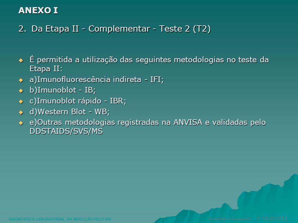 ANEXO I 2. Da Etapa II - Complementar - Teste 2 (T2) É permitida a utilização das seguintes metodologias no teste da Etapa II: É permitida a utilizaçã