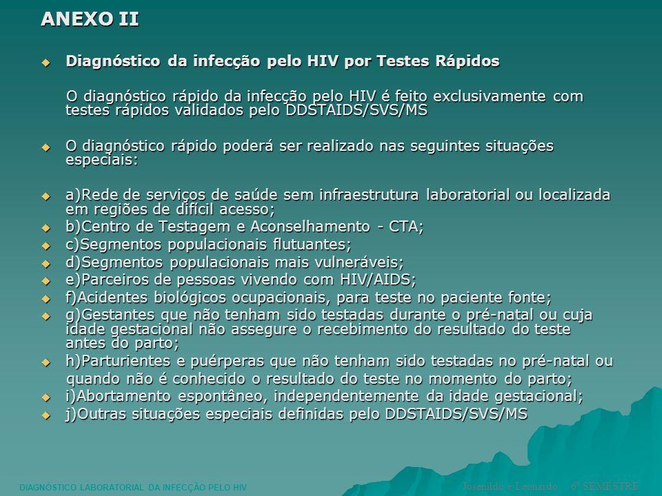 ANEXO II Diagnóstico da infecção pelo HIV por Testes Rápidos Diagnóstico da infecção pelo HIV por Testes Rápidos O diagnóstico rápido da infecção pelo