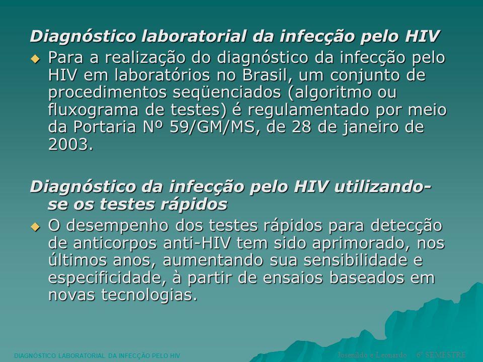 Diagnóstico laboratorial da infecção pelo HIV Para a realização do diagnóstico da infecção pelo HIV em laboratórios no Brasil, um conjunto de procedim