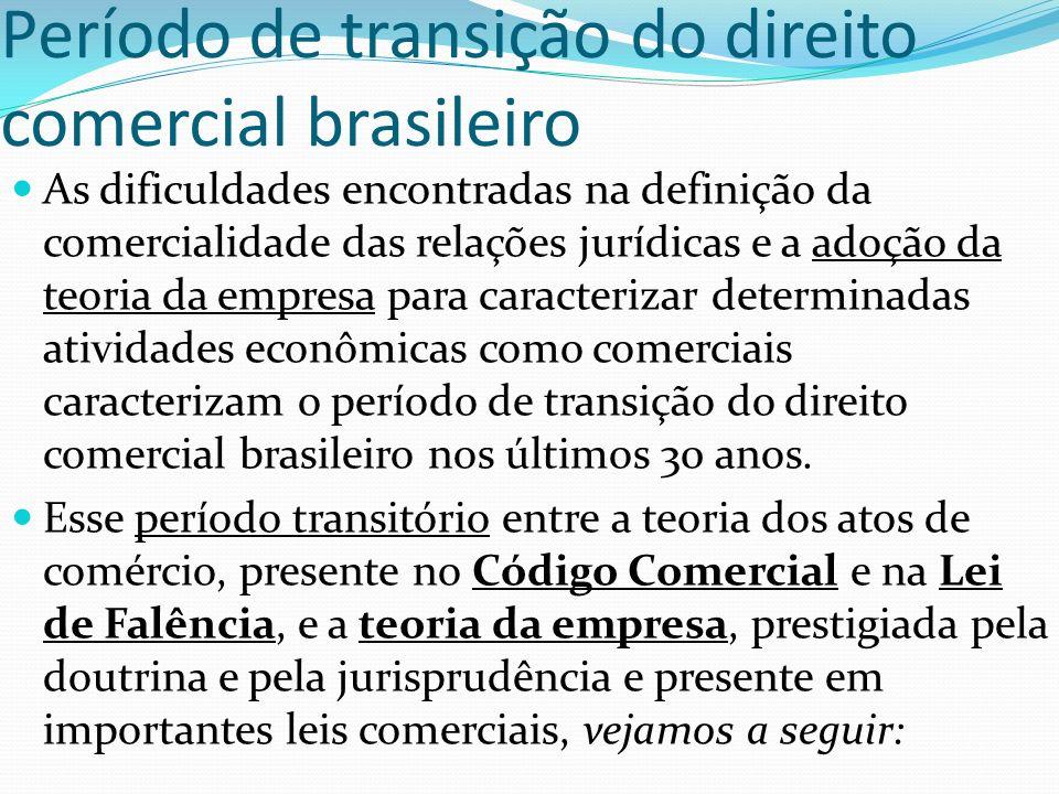 Teoria da empresa - italiana Teoria francesa - desprestigiada Nas últimas décadas, várias leis brasileiras de natureza comercial passaram a apresentar