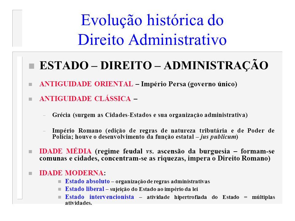 Evolução histórica do Direito Administrativo n ESTADO – DIREITO – ADMINISTRAÇÃO n ANTIGUIDADE ORIENTAL – Império Persa (governo único) n ANTIGUIDADE C
