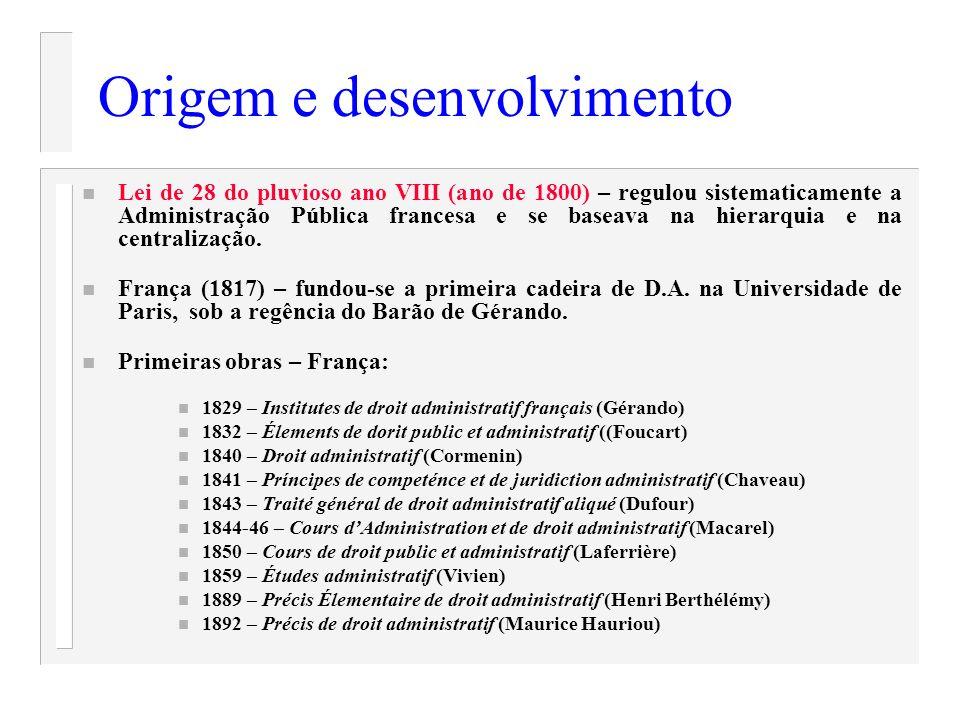 Origem e desenvolvimento n Lei de 28 do pluvioso ano VIII (ano de 1800) – regulou sistematicamente a Administração Pública francesa e se baseava na hi