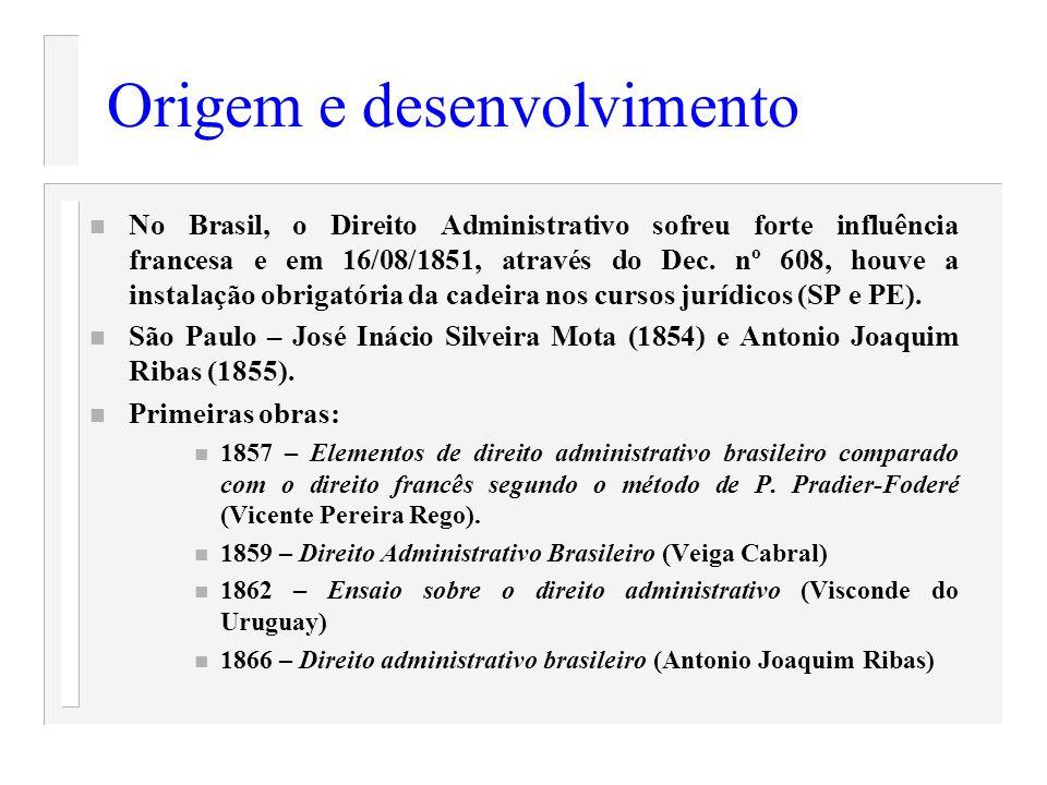 Origem e desenvolvimento n No Brasil, o Direito Administrativo sofreu forte influência francesa e em 16/08/1851, através do Dec. nº 608, houve a insta