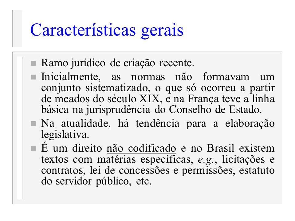 Características gerais n Ramo jurídico de criação recente. n Inicialmente, as normas não formavam um conjunto sistematizado, o que só ocorreu a partir