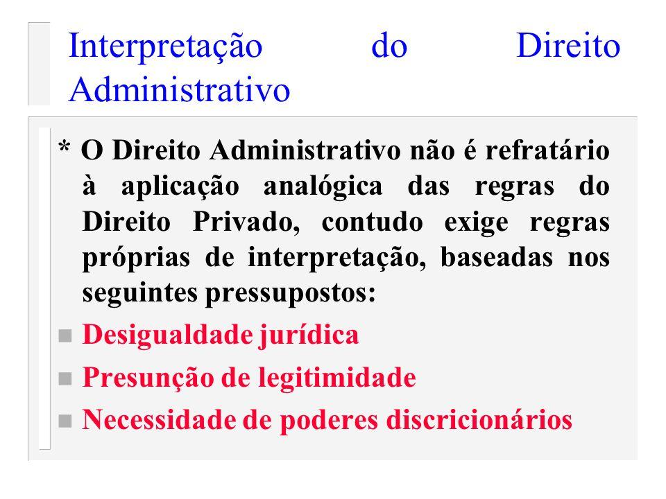 Interpretação do Direito Administrativo * O Direito Administrativo não é refratário à aplicação analógica das regras do Direito Privado, contudo exige