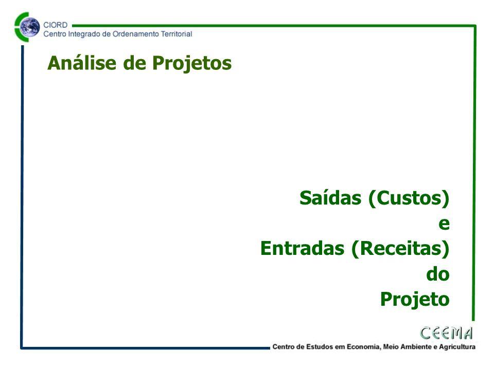 Análise de Projetos Saídas (Custos) e Entradas (Receitas) do Projeto