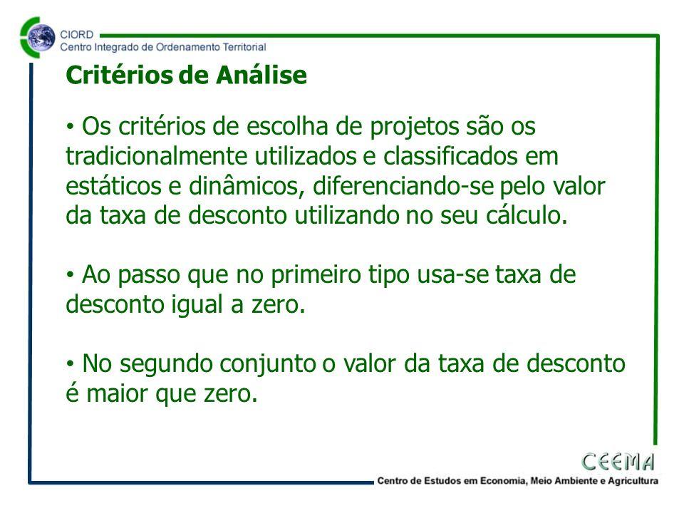 Os critérios de escolha de projetos são os tradicionalmente utilizados e classificados em estáticos e dinâmicos, diferenciando-se pelo valor da taxa d
