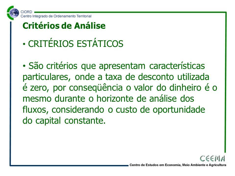 CRITÉRIOS ESTÁTICOS São critérios que apresentam características particulares, onde a taxa de desconto utilizada é zero, por conseqüência o valor do d