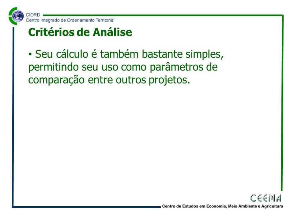 Seu cálculo é também bastante simples, permitindo seu uso como parâmetros de comparação entre outros projetos. Critérios de Análise